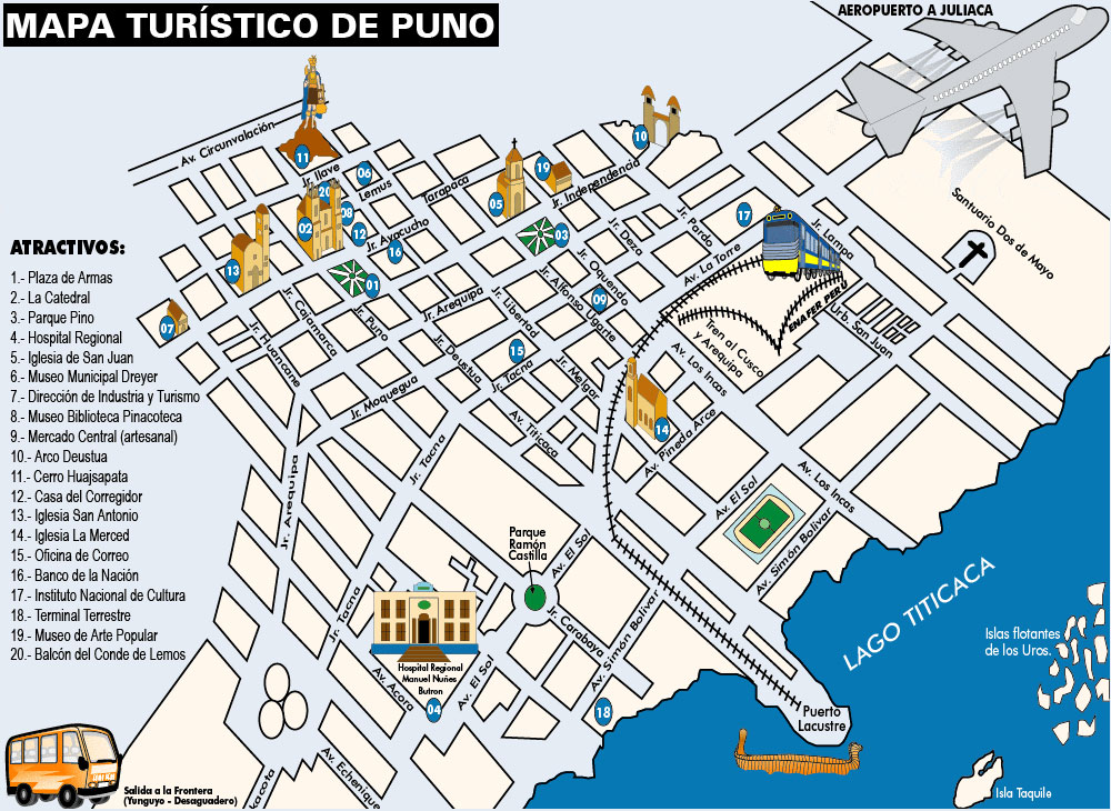 Mapa turistico de Puno